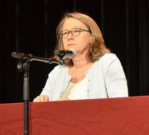 Linda Gorman debated the merits of a single-payer health care system in Colorado.