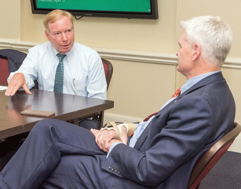 Lawrence Wedekind discusses opioid addiction with Sen. Bill Cassidy.